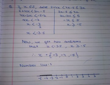 If x∈ Z, solve 2+4x <2x-5≤3x. Also represent its solution on the number line.