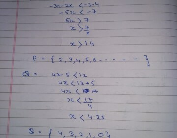 If P is the solution set of -3x+4< 2x-3, x∈N, and Q is the solution set of 4x-5<12, x∈W, find (i) P∩Q   (ii) Q-P.