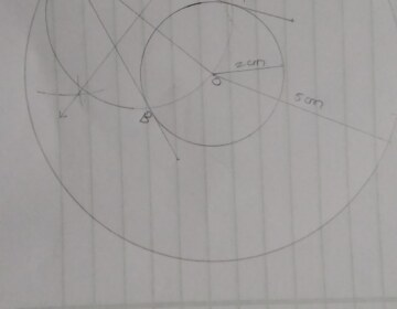 Draw two concentric circles of radii 2 cm and 5 cm. Take a point P on the outer circle and construct a pair of tangents PA and PB to the smaller circle. Measure PA.