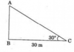 In the given figure, the angle of elevation of the top of a tower from a point C on the ground, which is 30 m away from the foot of the tower, is 30°. Find the height of the tower.