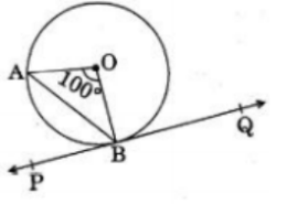 In the given figure, PQ is tangent to the circle with Centre at O, at the point B. If ∠AOB = 100° then ∠ABP, is equal to