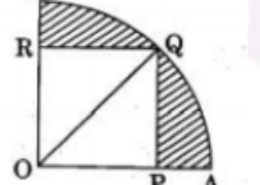 In the given figure, a square OPQR is inscribed in a quadrant OAQB of a circle. If the radius of circle is 6 √2 cm, find the area of the shaded region.