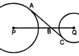 Question 16. In the given figure, AC is a transverse common tangent to two circles with centres P and Q and of radii 6 cm and 3 cm respectively. Given that AB = 8 cm, calculate PQ.