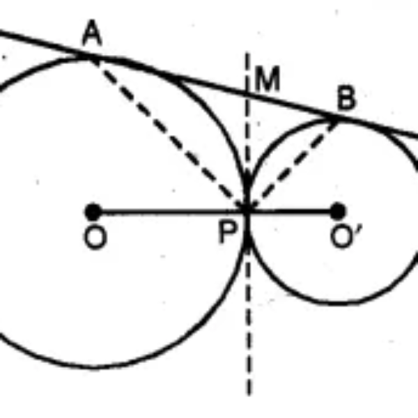 Ques (b) In the figure (ii) given below, O and O' are centres of two circles touching each other externally at the point P. The common tangent at P meets a direct common tangent AB at M. Prove that: (i) M bisects AB (ii) ∠APB = 90°.