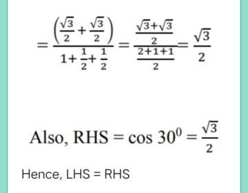 Show that: (cos 30° + sin 60°)/(1 + sin 30° + cos 60°) = cos 30°
